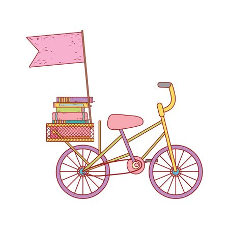 book day, bicycle with books and flag isolated icon vector illustration Illustration