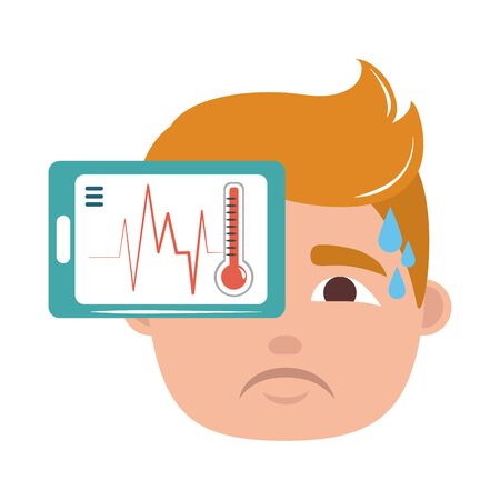 online doctor smartphone thermometer male fever patient care flat style icon vector illustration