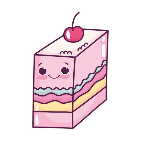 cute food slice jelly with fruit sweet dessert kawaii cartoon vector illustration isolated design
