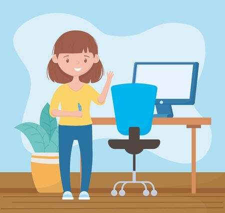 online education, teacher in room with desk pen and computer vector illustration Vettoriali
