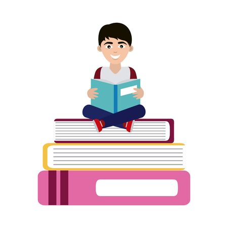 teen with open book sitting on books home education vector illustration flat style icon