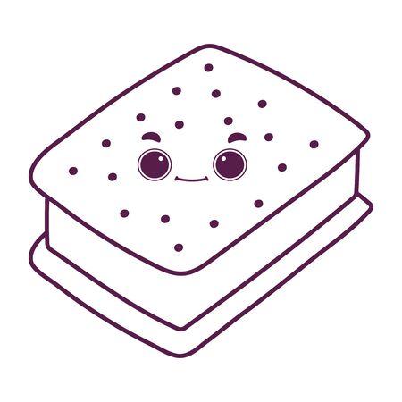 cute food ice cream cookie sweet dessert kawaii cartoon vector illustration isolated design line style 向量圖像
