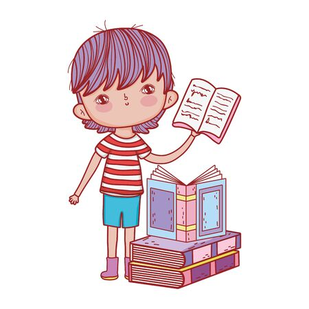 little boy holding open book stacked books isolated design