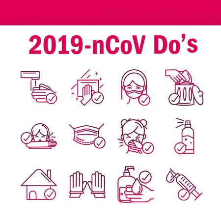 avoid and prevent spread of covid19 icons set gradient icon Vector Illustration