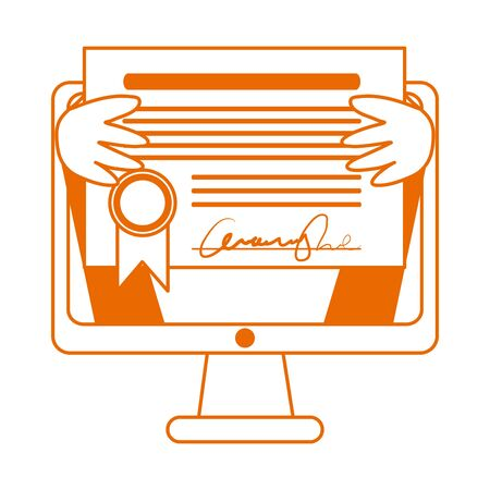 student with diploma in computer home education vector illustration line color style icon Ilustração