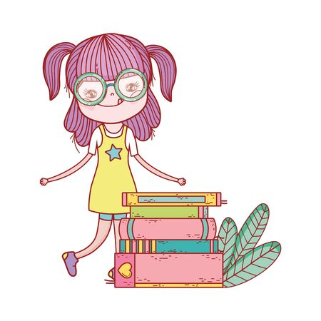 little girl with stacked books leaves nature isolated design