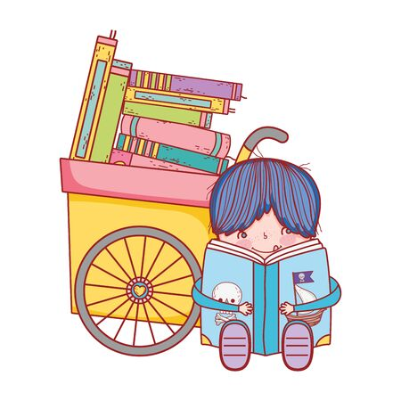 little boy sitting reading book pirates and handcart with books vector illustration  イラスト・ベクター素材