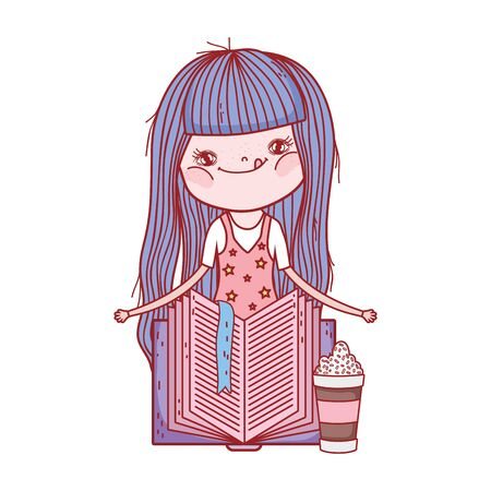 little girl with smoothie and open book isolated design vector illustration