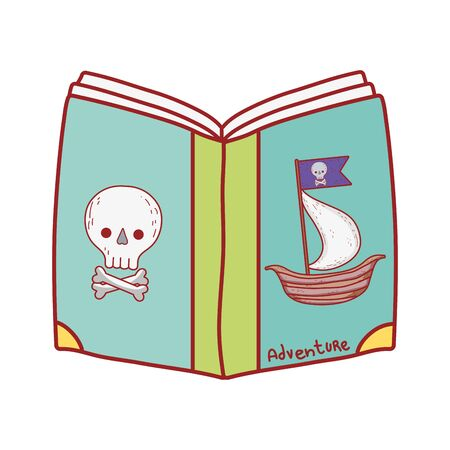 book day, pirates fantasy textbook isolated icon design vector illustration
