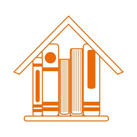 books in house learning home education line color style icon