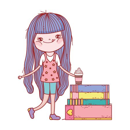 little girl with smoothie and stacked books isolated design Illustration