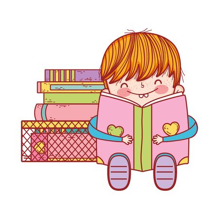 cute little boy sitting with open book and stacked books Illustration
