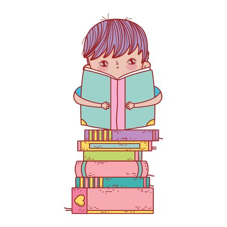 little boy sitting with open book on stacked books Illustration
