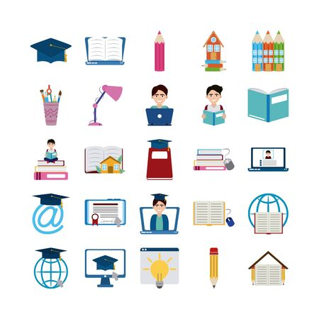 home education school learn supplies icons set vector illustration flat style icon