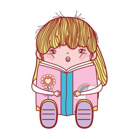 pretty girl with book sitting reading isolated design Illustration