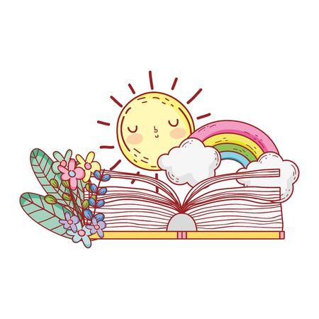 open book rainbow clouds sun flowers foliage vector illustration