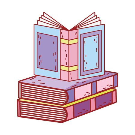 book day, open textbook on books stack isolated icon design vector illustration
