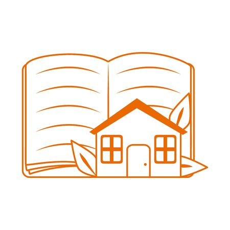 open book and house home education vector illustration line color style icon