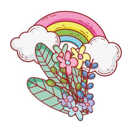 rainbow flowers foliage clouds nature cartoon isolated icon design vector illustration