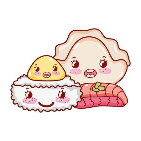 kawaii rice roll meat dumpling and cookie food japanese cartoon vector illustration sushi and rolls  イラスト・ベクター素材