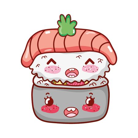kawaii nigiri sushi with rice roll food japanese cartoon vector illustration sushi and rolls  イラスト・ベクター素材