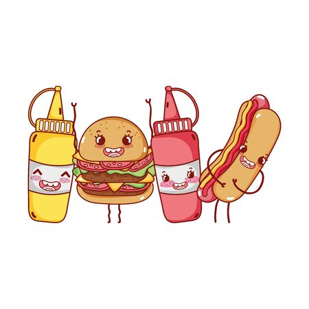 fast food cute burger hot dog mustard sauces cartoon character vector illustration