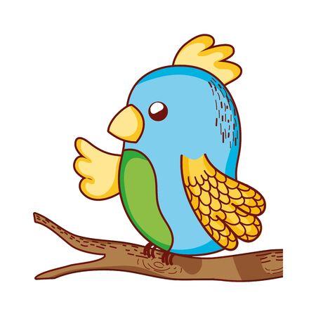 cute animals, parrot in branch tree cartoon