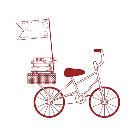 book day, bicycle with books and isolated icon line style