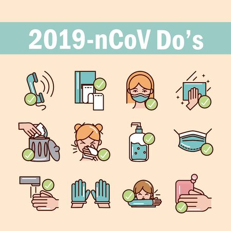 avoid and prevent spread of covid19 icons set line and file icon Ilustrace