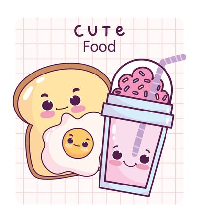cute food breakfast slice bread fried egg and frappe sweet dessert pastry cartoon vector illustration Иллюстрация