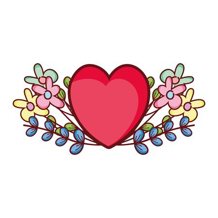 red heart love flowers foliage romantic cartoon vector illustration