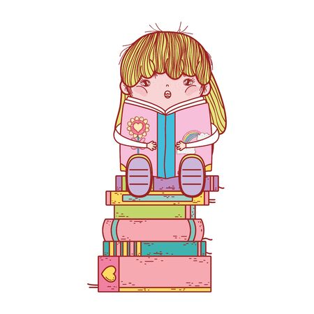 cute girl with smoothie and stacked books isolated design vector illustration
