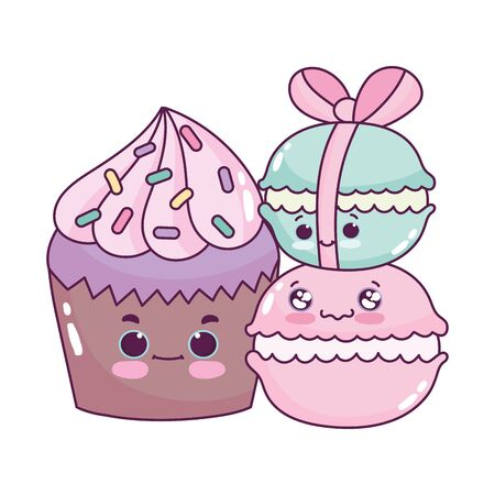 cute food cupcake and macaroons sweet dessert pastry cartoon vector illustration isolated design