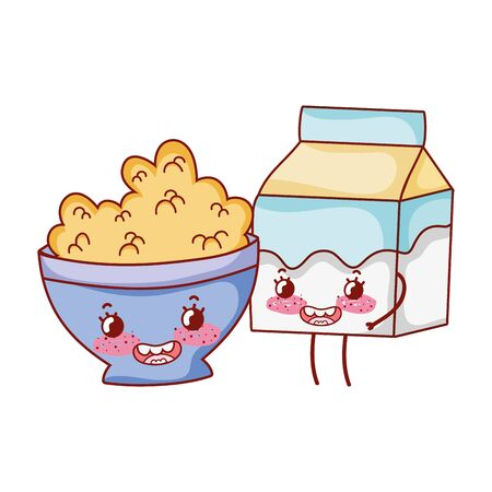 breakfast cute bowl with cereal and milk box cartoon vector illustration