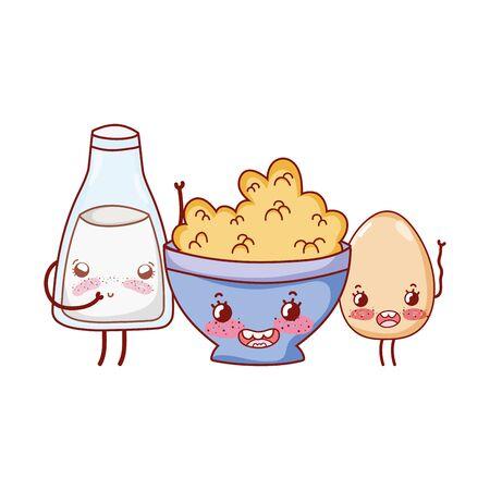 breakfast cute boiled egg cereal and milk kawaii cartoon