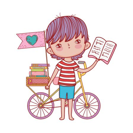 cute boy reading book with bicycle stacked books flag isolated design Illustration