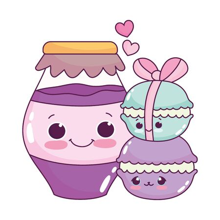 cute food macarons and jar with jam sweet dessert pastry cartoon isolated design Illustration