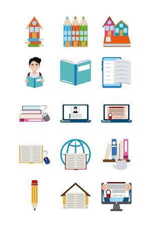 Heimerziehung Schule lernen Lieferungen Icons Set Flat Style Icon