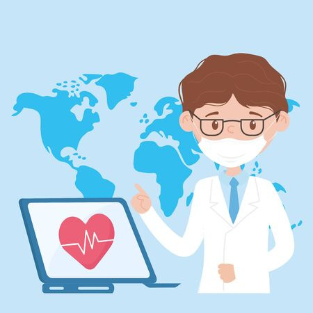 health online, doctor with mask and laptop medical help covid 19 coronavirus