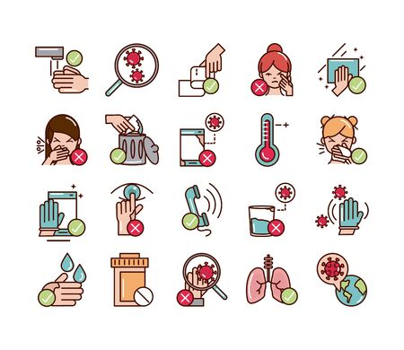 avoid and prevent spread of covid19 icons set line and file icon Ilustração