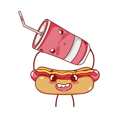 fast food cute hot dog and plastic cup with cartoon