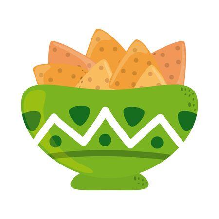bowl with nachos cinco de mayo mexican celebration vector illustration flat style icon Vector Illustration