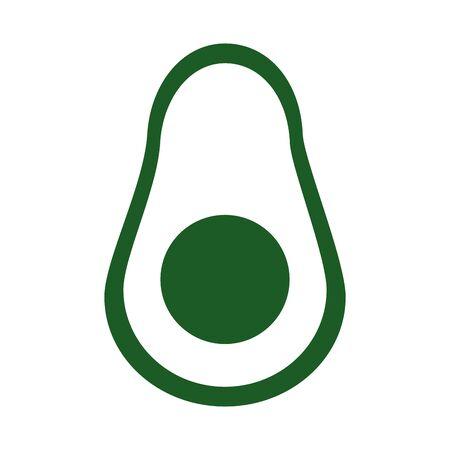 slice avocado fresh fruit and vegetable vector illustration line style icon 向量圖像