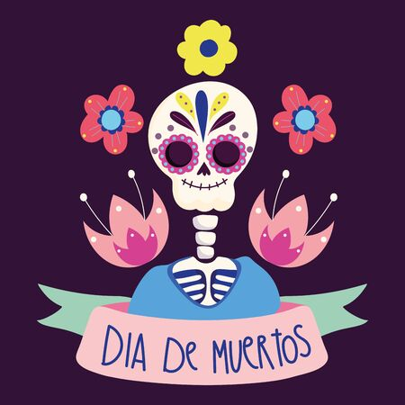 day of the dead, skeleton flowers culture traditional mexican celebration vector illustration 版權商用圖片 - 144229115