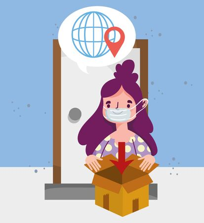 woman with box delivery global service ecommerce online shopping vector illustration covid 19 coronavirus