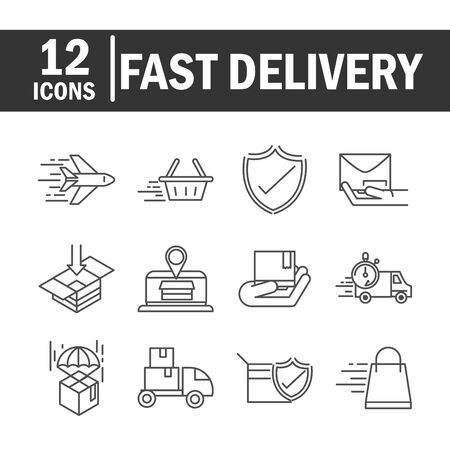 fast delivery cargo shipping commerce business icons set vector illustration line style icon Foto de archivo - 143605958