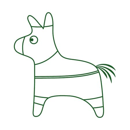 donkey pinata decoration party cinco de mayo mexican celebration vector illustration line style icon 向量圖像