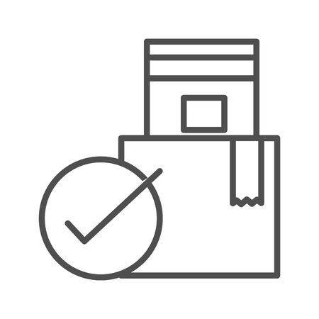 checking stack cardboard boxes cargo shipping related delivery vector illustration line style icon Foto de archivo - 143605416