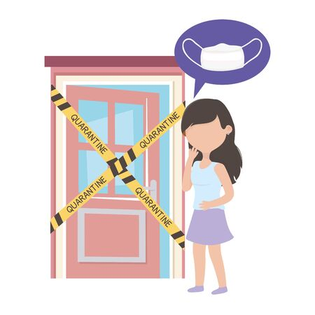 covid 19 coronavirus pandemic, worried woman without mask in home quarantine vector illustration