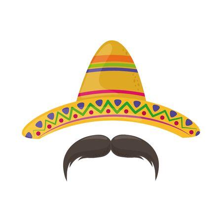 Chapeau et moustache cinco de mayo célébration mexicaine illustration vectorielle icône de style plat Vecteurs